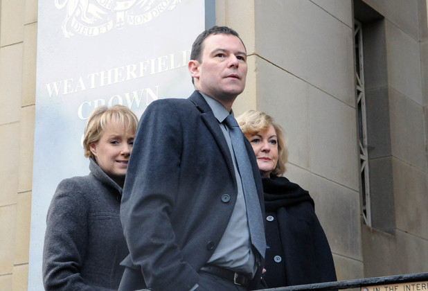 Frank arrives at court for the first day of his trial