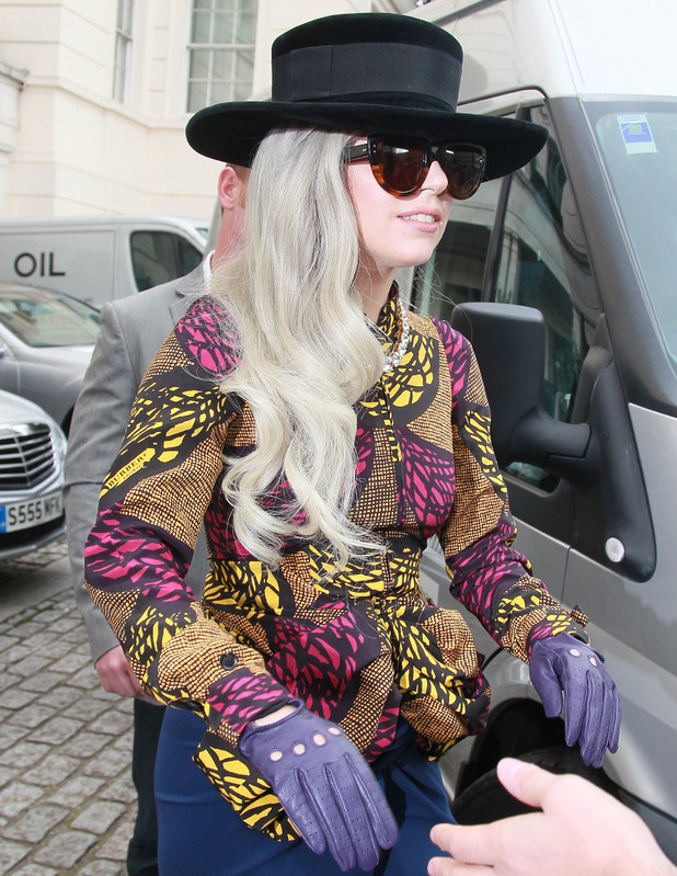Lady Gaga seen leaving her hotel in London to head up to Manchester for the Children In Need Rocks charity gala London, England