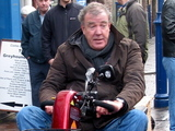 Jeremy Clarkson races his Top Gear co-presenters on a customized mobility scooter through Abergavenny Town,  as they film scenes for the new series of the hit BBC motoring show Abergavenny, South Wales - 18.01.12