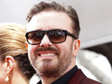 Ricky Gervais chides the stars for causing the show to run five minutes behind.