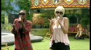 Sunshine (as Lady GaGa) and Ife do a 'Poker Face' routine in the garden.