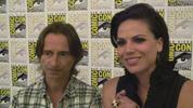 Evil Queen and Rumplestiltskin giggle their way through an interview about Once Upon A Time.