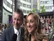 Emmerdale's John Middleton and Charlotte Bellamy being interviewed on the red carpet at this year's soap awards held in London.
