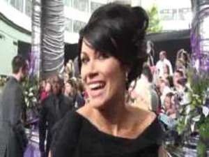 Coronation Street&#39; Alison King being interviewed on the red carpet at this year&#39;s soap awards held in London.