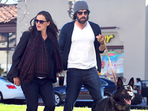 A very pregnant Jennifer Garner and Ben Affleck are seen walking their German Shepard while out and about in Brentwood
