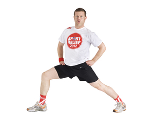 Dermot O'Leary wearing the Sport Relief T-shirt
