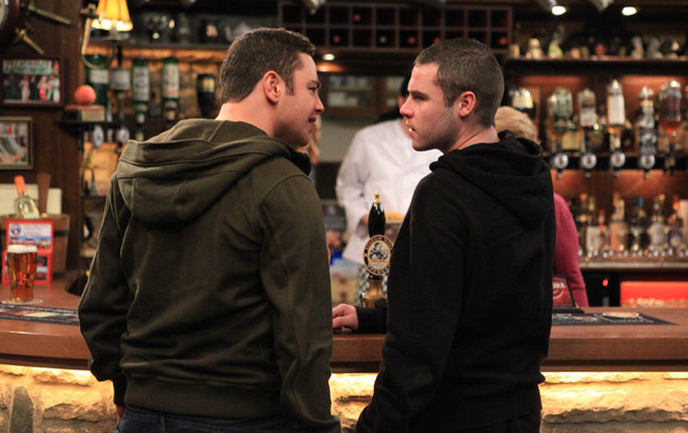 After seeing Chas get into John's car and kiss him before leaving. Adam confronts Aaron over his mum's actions
