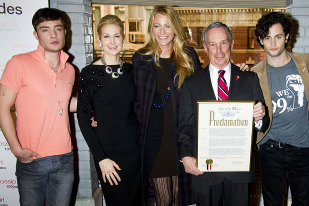 Blake Lively, Penn Badgley, Ed Westwick and New York Mayor Michael Bloomberg