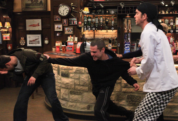 Adam Barton (Adam Thomas) and Aaron Livesy (Danny Miller) come to blows