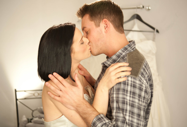 Cindy Longford (Stephanie Waring) makes a move on Darren Osborne (Ashley Taylor Dawson)