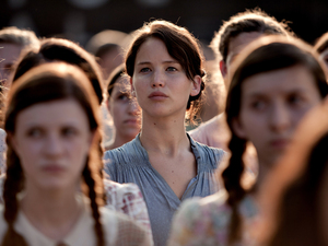 The Hunger Games gallery: Katniss at her district&#39;s Reaping event.
