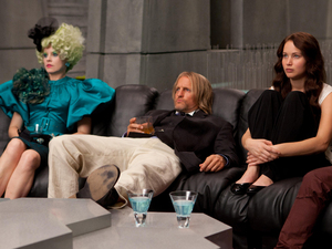 The Hunger Games gallery: Effie Trinket, Haymitch and Katniss.