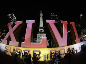 Super Bowl XLVI logo on Monument Circle