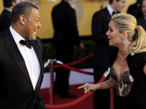 Laurence Fishburne, left, and Jane Krakowski at the 18th Annual Screen Actors Guild Awards