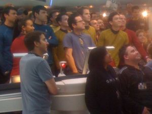 Star Trek 2 cast and crew on the bridge of the Enterprise