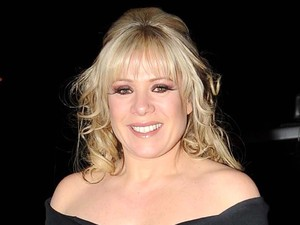 Letitia Dean arrives at the RTE studios with her dog for the Late Late Show Dublin, Ireland