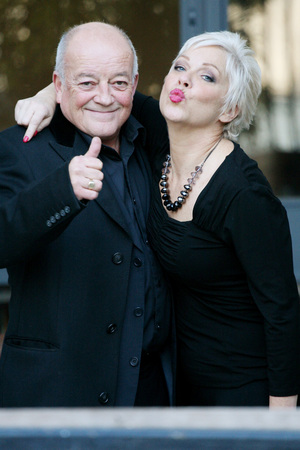 Tim Healy and Denise Welch outside the ITV studios London