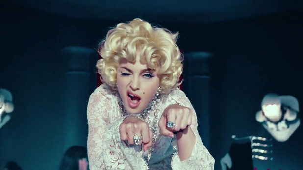 Video still from Madonna's 'Give Me All Your Luvin' feat Nicki Minaj and M.I.A.