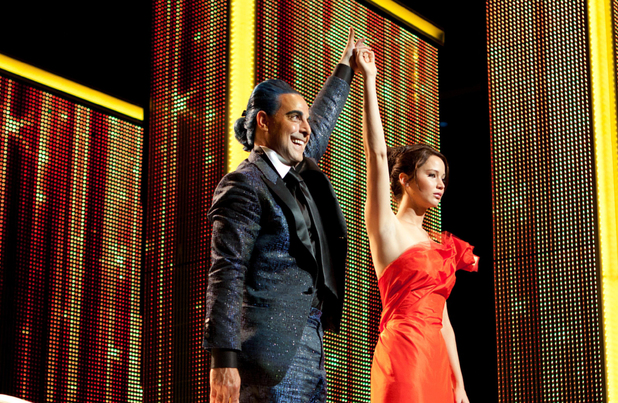 The Hunger Games gallery: Katniss with Caesar Flickerman.