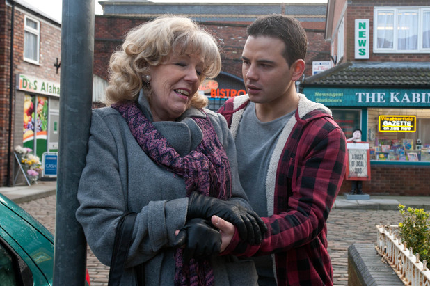 Audrey insists she is fine after Jason helps her into the house following a dizzy spell