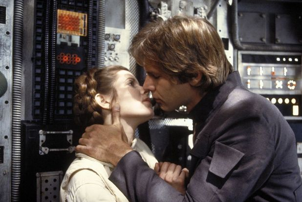 Han Solo (Harrison Ford) and Princess Leia (Carrie Fisher)