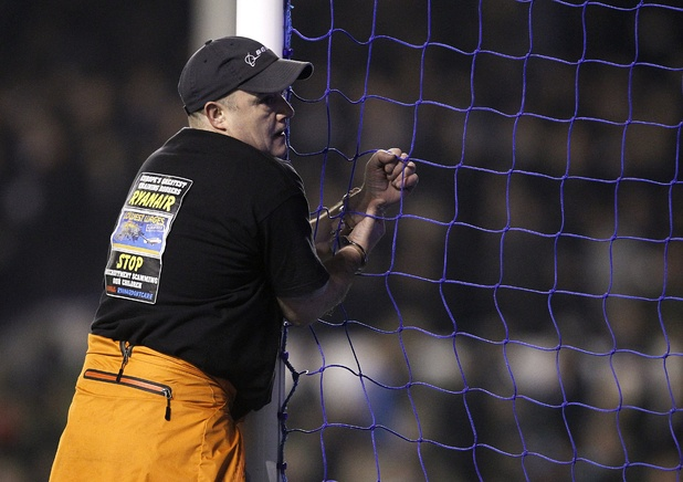 Man handcuffed to Goodison Park goalposts