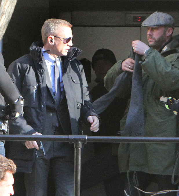 Daniel Craig films a scene