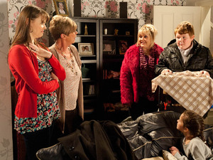 Tracy gets a shock when the front door opens and Beth walks in with her son Craig