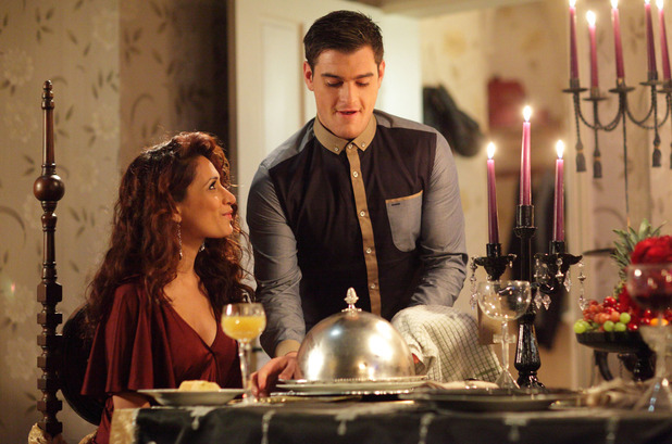 Anthony Moon (Matt Lapinskas) cooks a romantic meal for Amira Shah (Preeya Kalidas)