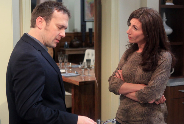 Declan Macey (Jason Merrells) gives Megan Macey (Gaynor Faye) a deadline for making a decision about the festival