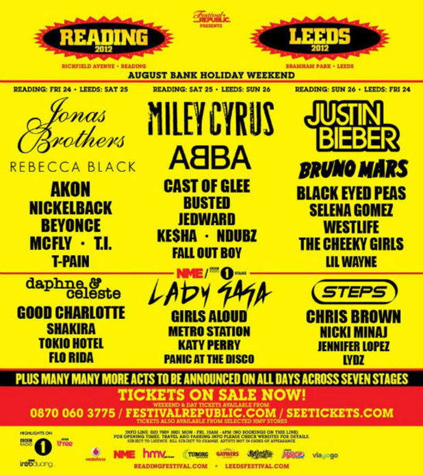 Spoof Reading and Leeds poster featuring Miley Cyrus and Justin Bieber
