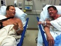 The Hollywood hard-men bump into one another in hospital.