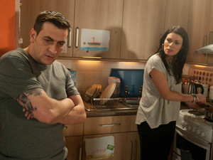 Peter and Carla have both had a stressful day, and back at home, the pressure builds and a erupts between them