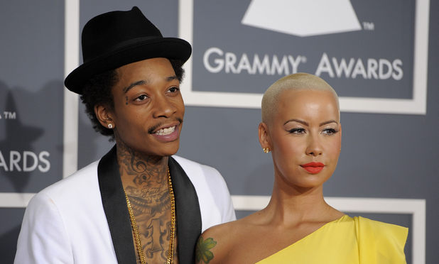 The 54th Annual Grammy Awards: Red Carpet: Wiz Khalifa with girlfriend Amber Rose