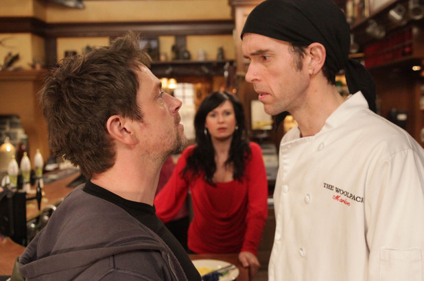 Cameron Murray (Dominic Power) takes his anger out on Marlon Dingle (Mark Charnock)