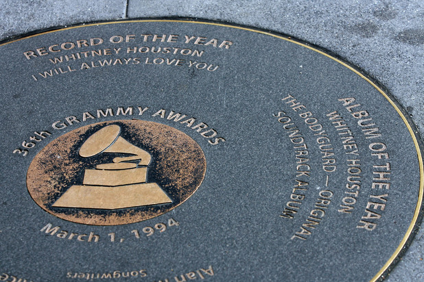 Whitney Houston's past Grammy victories plaque