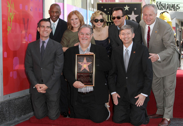 Eric Garcetti, Nancy Cartwright, Matt Groening, Yeardley Smith, Hank Azaria and Tom Labonge