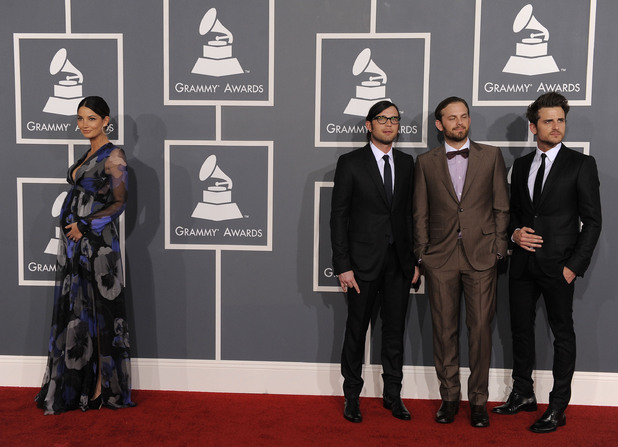 The 54th Annual Grammy Awards: Red Carpet: Lily Aldridge with Kings of Leon