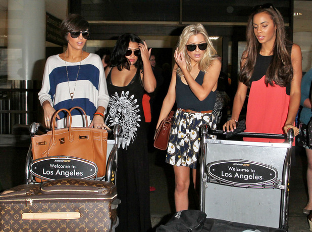 Frankie Sandford, Vanessa White, Mollie King and Rochelle Wiseman of The Saturdays arriving at LAX Airport Los Angeles, California