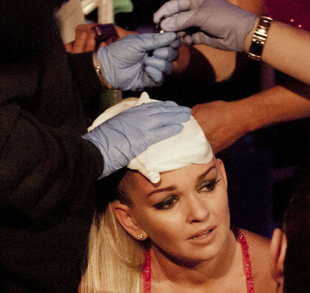 DOI: Jennifer Ellison injures herself while performing a 'Scorpian Kick' during her routine