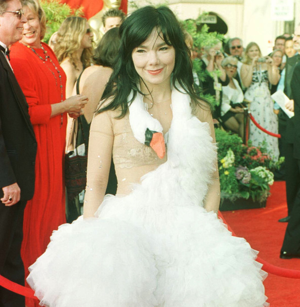 Bjork wearing a creation by Marjan Djodjov Pejoski arriving for the 73rd Annual Academy Awards