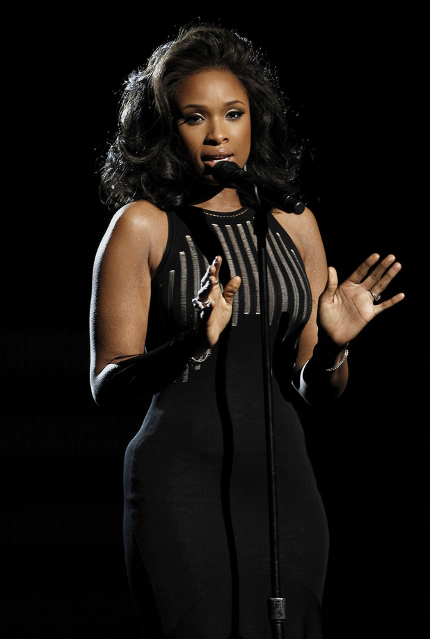 "Jennifer Hudson performs ""I Will Always Love You"" during the In Memoriam portion of the 54th annual Grammy Awards"