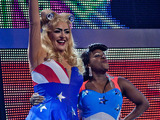 "Tameka Empson and Laurie Brett from EastEnders perform the winning dance, Lady Gaga & Beyonce's ""Telephone""."
