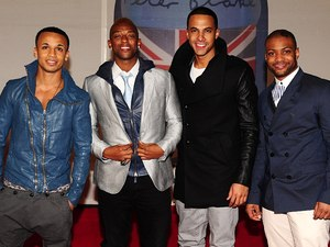 JLS arriving for the 2012 Brit Awards at The O2 Arena, London