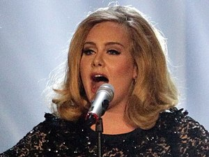 Adele during the 2012 Brit awards at The O2 Arena, London