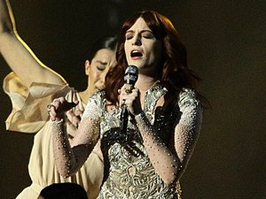 Florence and the Machine perform on stage during the 2012 Brit awards at The O2 Arena, London