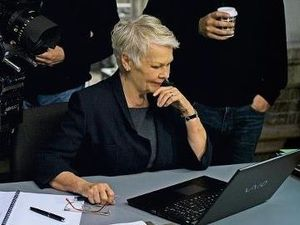 Judi Dench in a behind the scenes picture from Skyfall