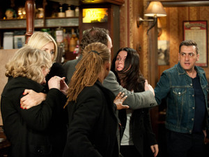 It all kicks off in the pub as the police head to the street to make an arrest. They have evidence of Peter's fingerprints on the whisky bottle, and Anne has informed them of a contract missing from Frank's desk