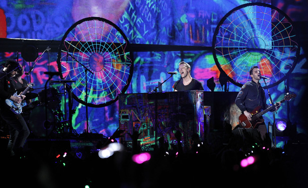 Coldplay perform on stage during the 2012 Brit awards at The O2 Arena, London