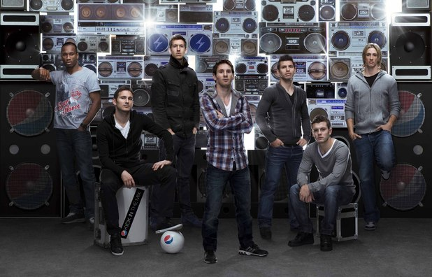 Calvin Harris with footballers Didier Drogba, Frank Lampard, Leo Messi, Sergio Aguero, Jack Wilshere and Fernando Torres for Pepsi